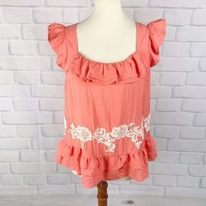Floreat Orange Top Ruffle Peplum Lace Detail 4